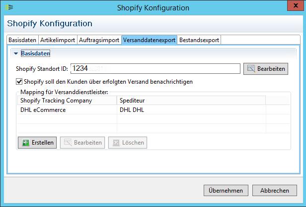 Shopify Fulfillment Versanddatenexport